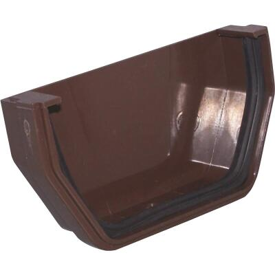 Raingo 5 In. Vinyl Brown Outside Gutter End Cap