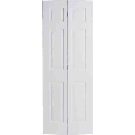 Masonite 30 In. W x 79 In. H Textured Hardboard Primed White 6-Panel 2-Door Bifold Door