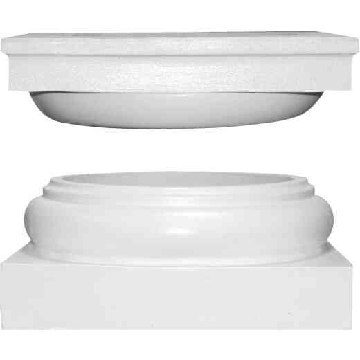 Crown Column Cap 11-15/16 In., Base 13-1/8 In. Unfinished Plastic Round Cap & Base Set