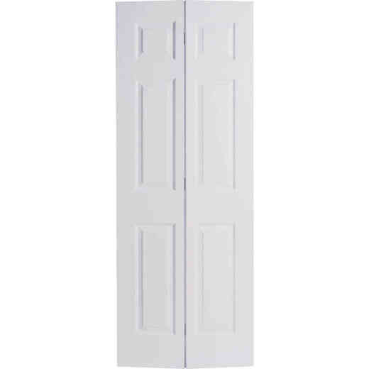 Masonite 32 In. W x 79 In. H Textured Hardboard Primed White 6-Panel 2-Door Bifold Door