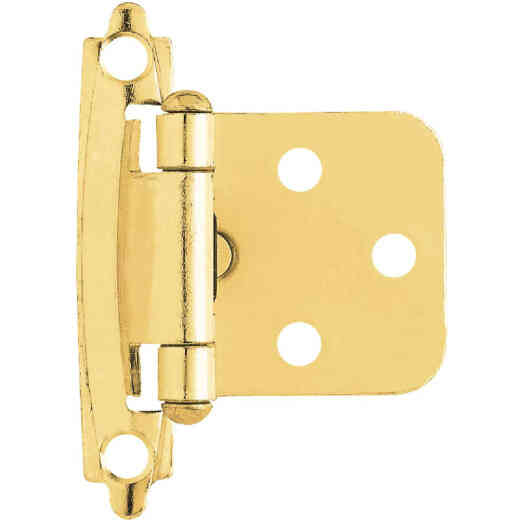 Liberty Polished Brass Self-Closing Overlay Hinge (2-Pack)