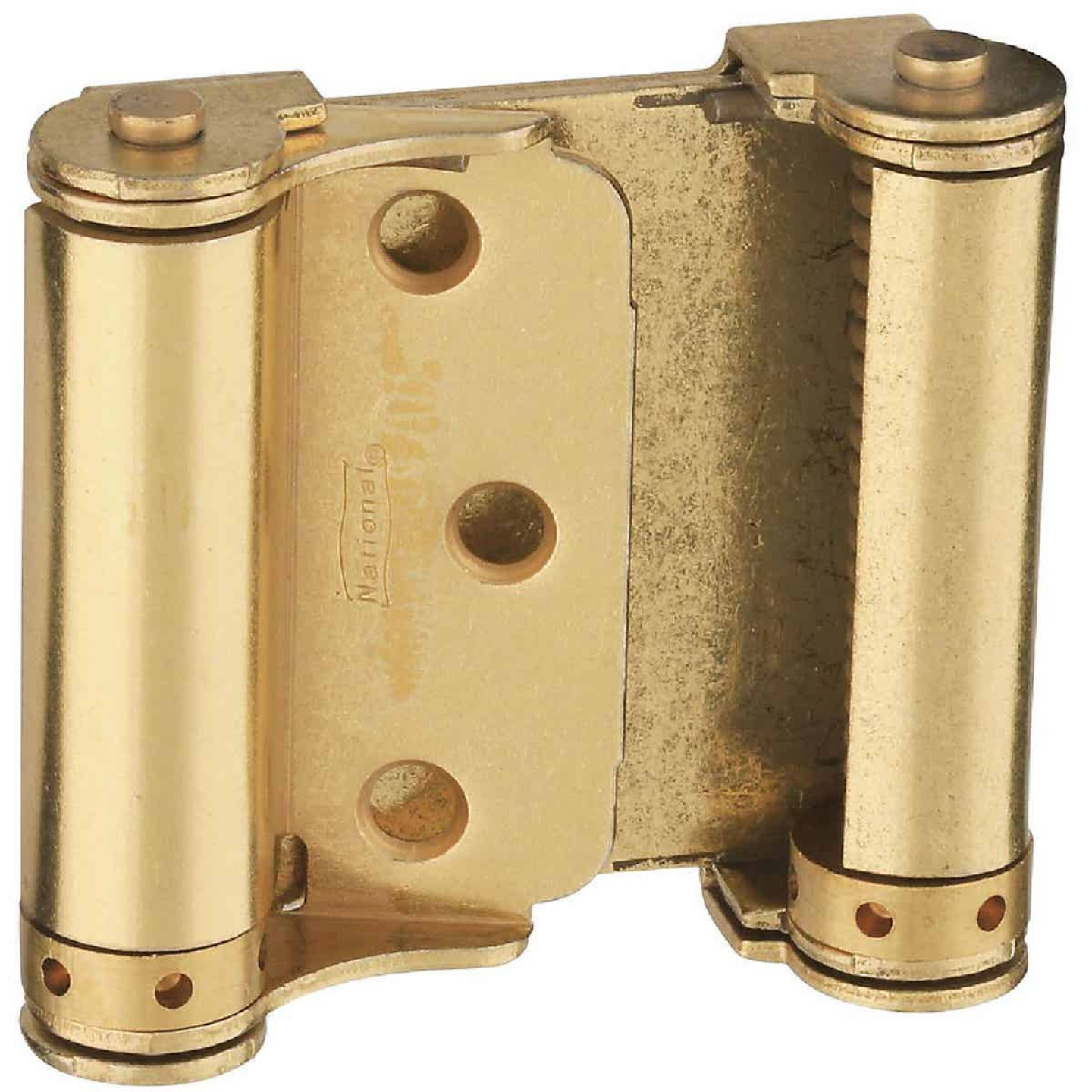 National 3 In. Satin Brass Double Action Spring Door Hinge (2-Pack) Image 1