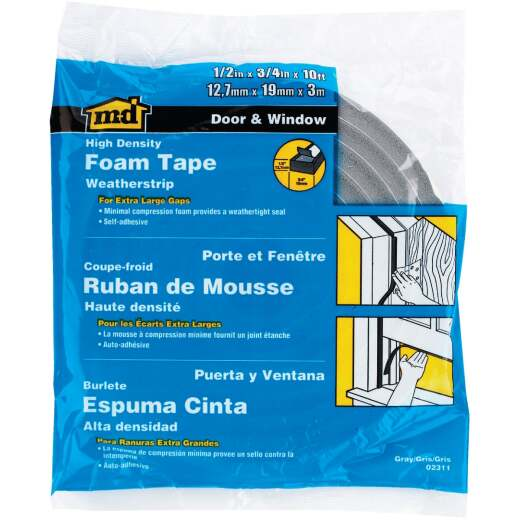 "M-D 3/4"" W x 1/2"" T x 10' L Gray Foam Weatherstrip Tape"