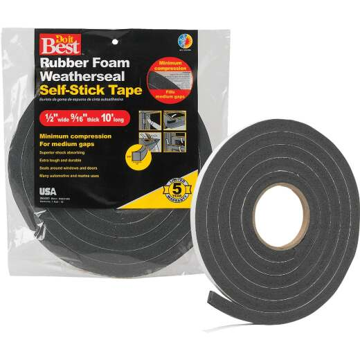 "Do it Best 1/2"" W x 9/16"" T x 10' L Black Foam Weatherstrip Tape"