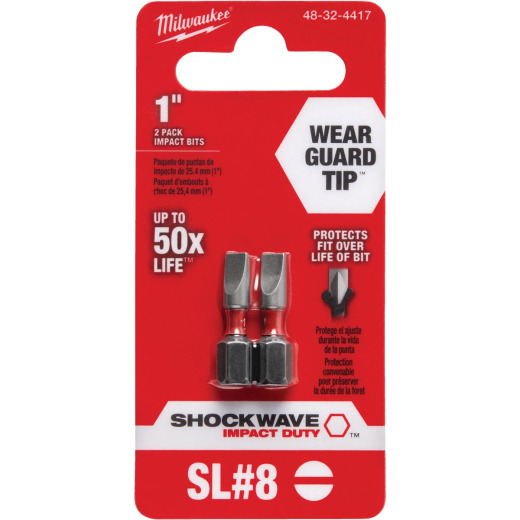 Milwaukee Shockwave #8 Slotted 1 In. Insert Impact Screwdriver Bit (2-Pack)