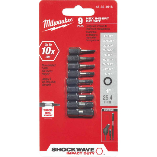 Milwaukee Shockwave Hex Insert Impact Screwdriver Bit Set (9-Piece)