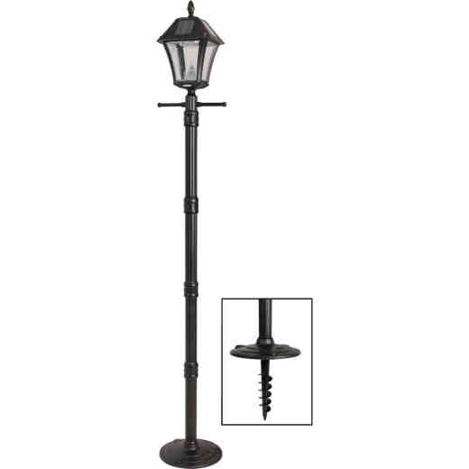 Gama Sonic Baytown II Black Solar Dusk-To-Dawn LED Post Light Fixture with Anchor