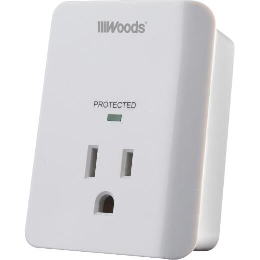 Woods 1-Outlet 15A White Surge Tap Appliance Alarm