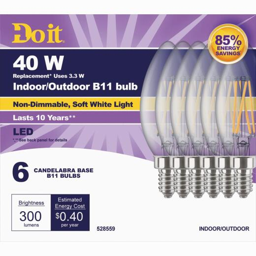 Do it 40W Equivalent Soft White B11 Candelabra LED Decorative Light Bulb (6-Pack)