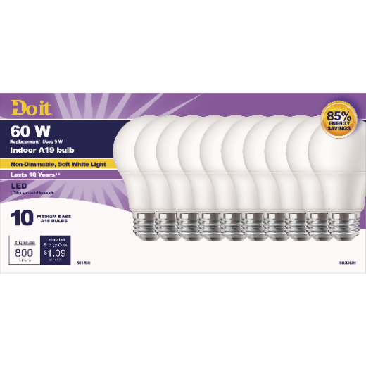 Do it 60W Equivalent Soft White A19 Medium LED Light Bulb (10-Pack)