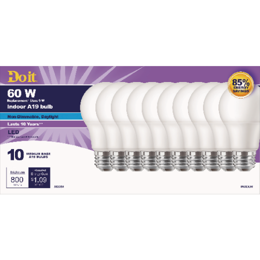 Do it 60W Equivalent Daylight A19 Medium LED Light Bulb (10-Pack)