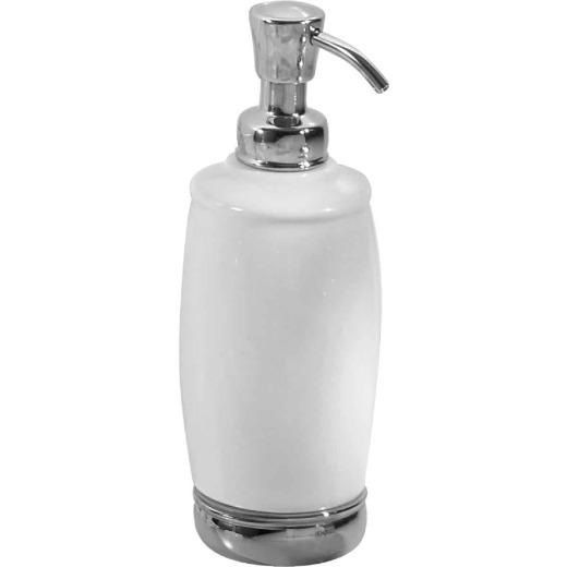 InterDesign York 12 Oz. White/Chrome Tall Soap Dispenser