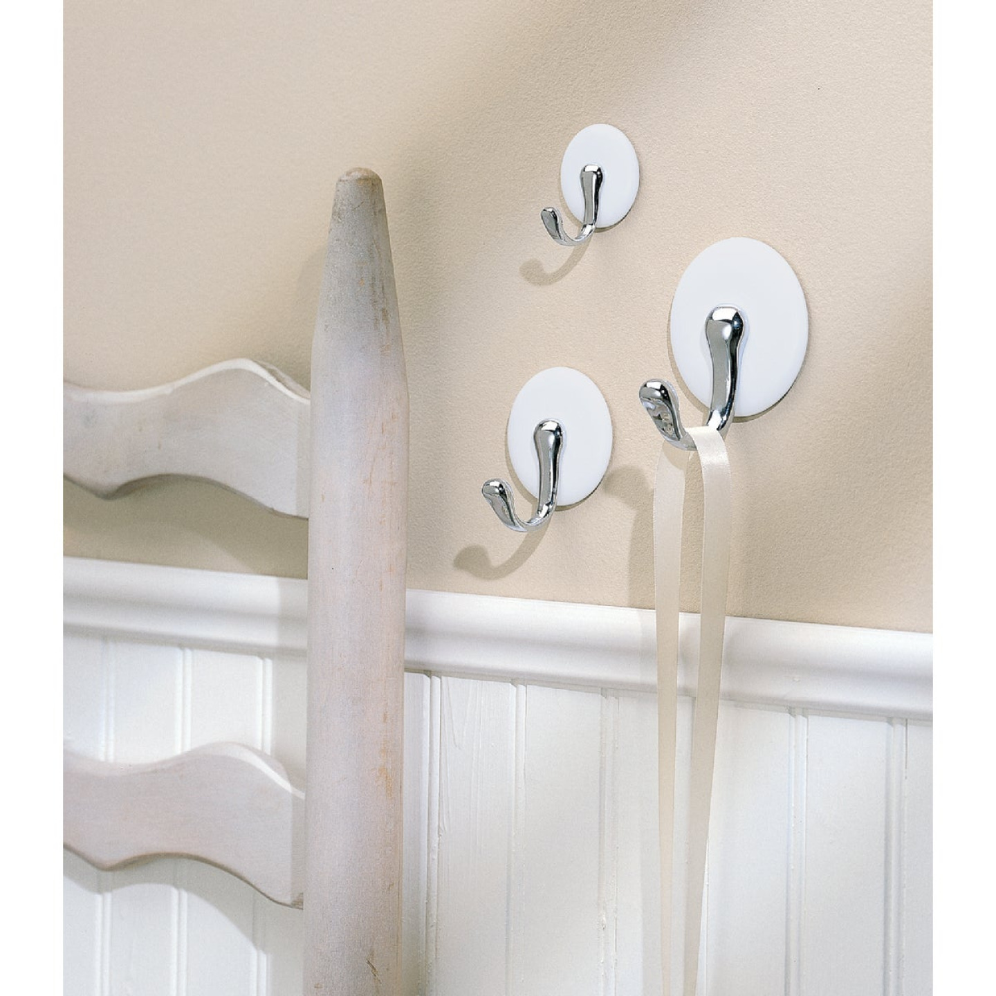 InterDesign Forma York White & Chrome Adhesive Hook Image 2