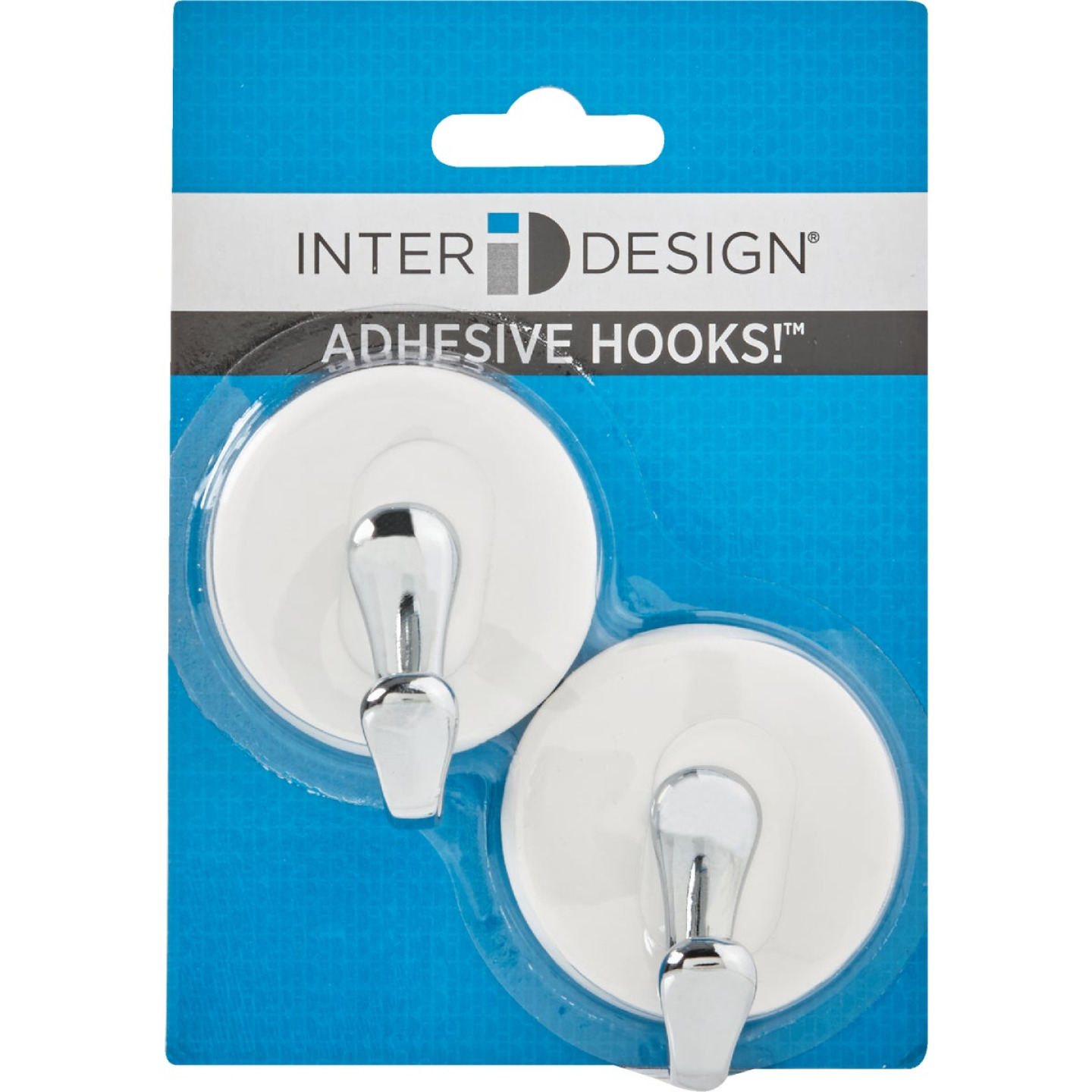 InterDesign Forma York White & Chrome Adhesive Hook Image 3