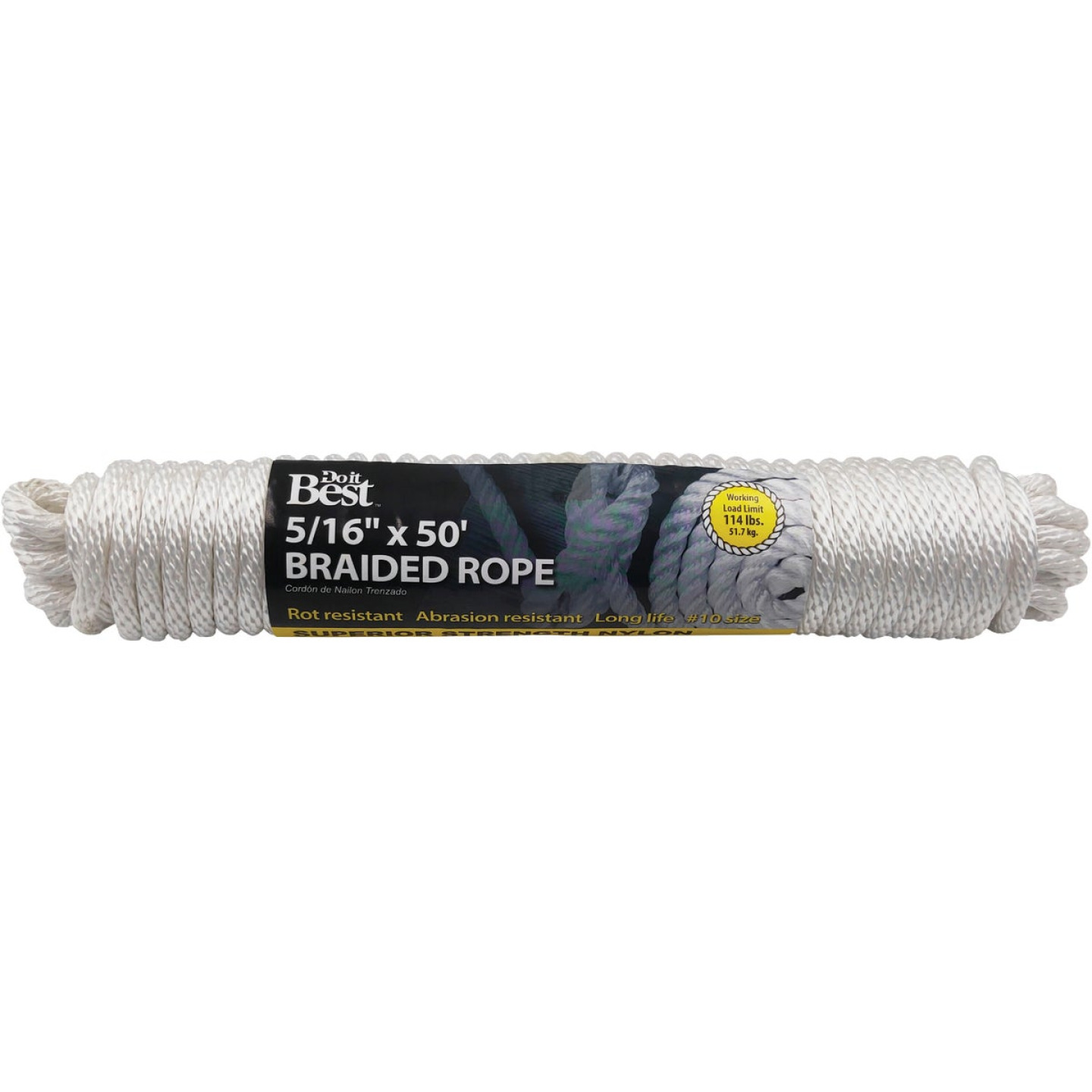 Do it 5/16 In. x 50 Ft. White Braided Nylon Packaged Rope Image 1