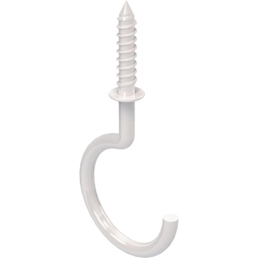 National White Vinyl-Coated Ceiling Hook (2 Pack)