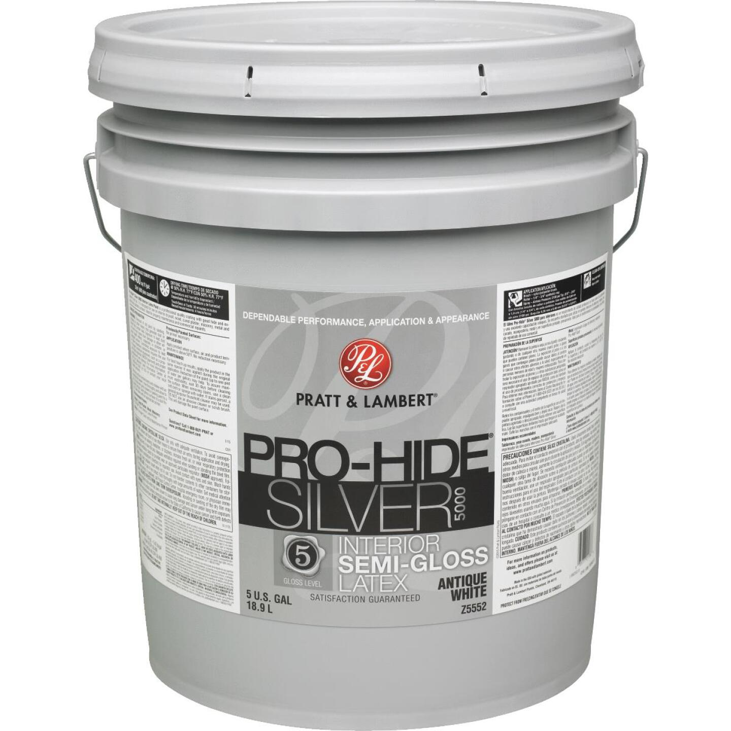 Pratt & Lambert Pro-Hide Silver 5000 Latex Semi-Gloss Interior Wall Paint, Antique White, 5 Gal. Image 1
