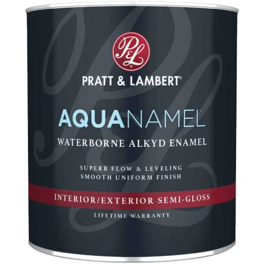 Pratt & Lambert Aquanamel Waterborne Alkyd Semi-Gloss Interior/Exterior Enamel, Bright White Base, 1 Qt.