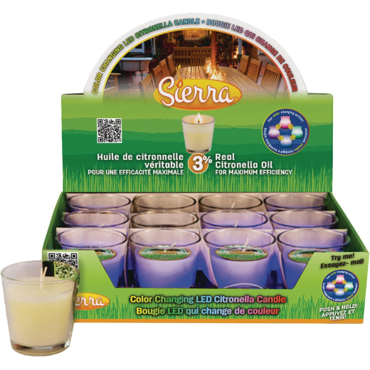 Sierra 4.2 Oz. 1-Wick LED Color Changing Citronella Candle